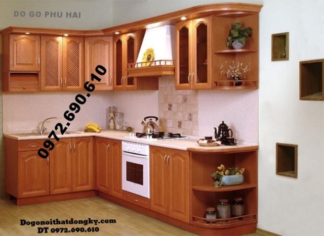 Tủ bếp đẹp - Tủ bếp gỗ camxe Chữ L giá rẻ TB8