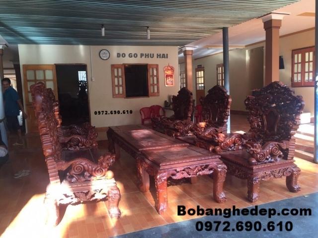 Bộ bàn ghế gỗ hương, Bộ ghế đồng kỵ rồng khay B157