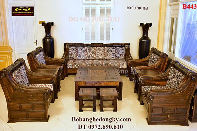 Bộ Bàn Ghế Gỗ Mun Đẹp Kiểu Sofa Dành Cho Phòng Khách Vip B442