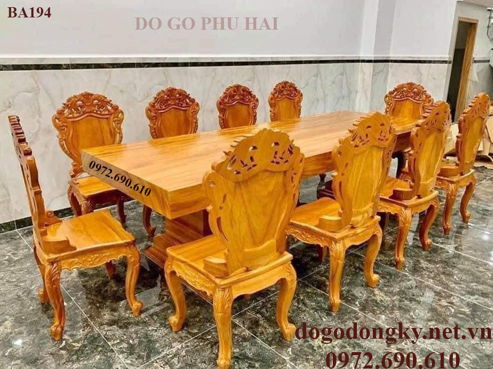 Bộ Bàn Ăn Đẹp 10 Ghế Nâng Tầm Đẳng Cấp Cho Phòng Ăn BA194