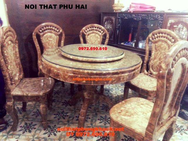 Bộ bàn ghế phòng ăn Kiểu bàn Tròn Xoay Gỗ Nu BT01