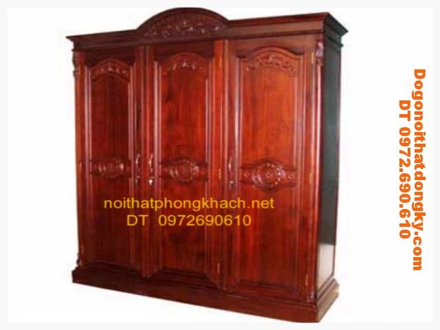 Tủ để quần áo gỗ gụ 3 buồng T3B01