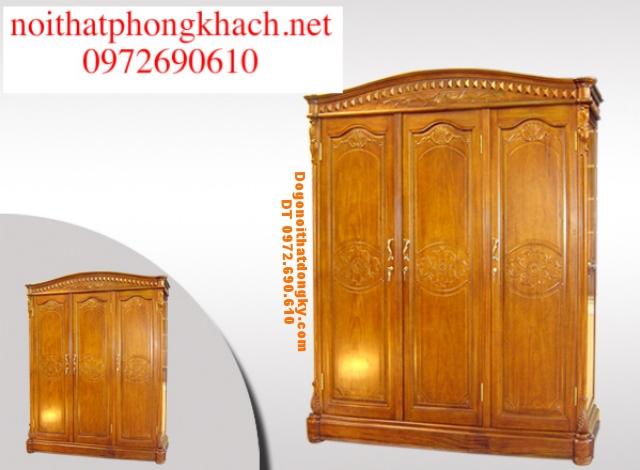 Tủ quần áo gỗ hương 3 buồng T3B04