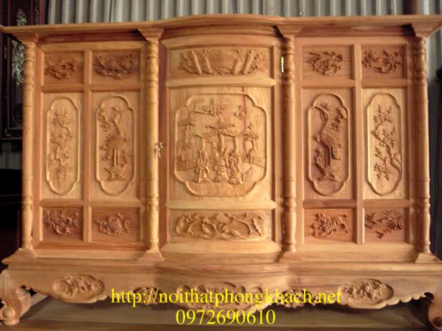 Tủ thờ gỗ hương Triên tam đa Tứ linh TT11
