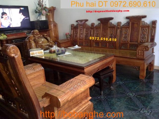 Bộ bàn ghế gỗ hương Kiểu Âu Á tay hộp AU3A