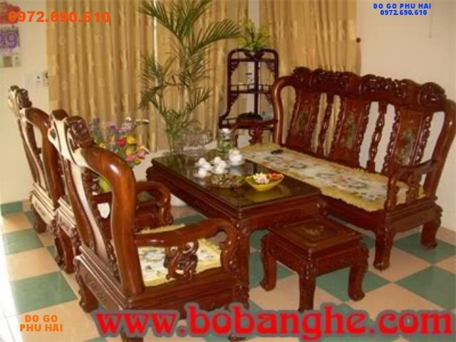Bộ bàn ghế gỗ hương Kiểu Minh khảm ốc MHC02