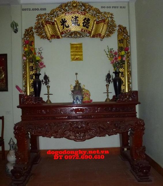 Bàn thờ gia tiên  hoành phi câu đối mạ vàng BBT5