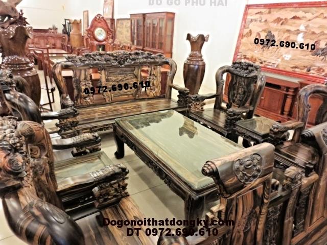 Bộ bàn ghế gỗ mun kiểu phượng công Vai 12 PC47