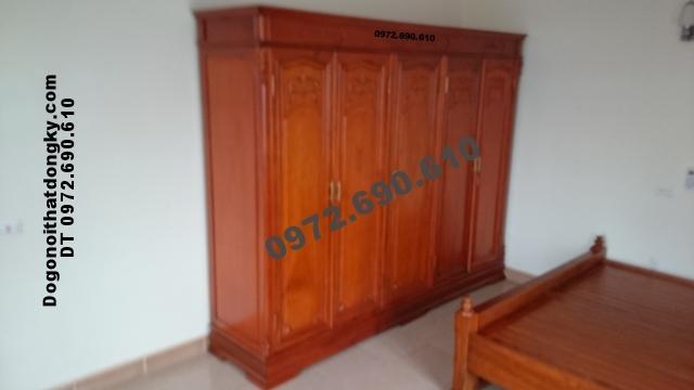 Tủ đựng quần áo gỗ gụ 3 buồng 5 cánh TA1