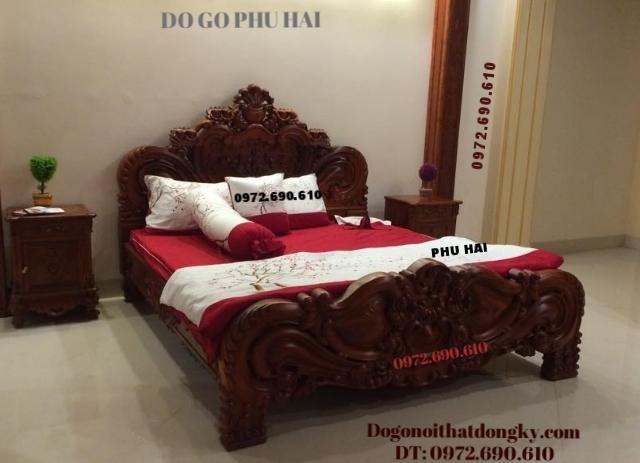 Giường cưới đẹp, Giường cô dâu kiểu hoa hồng GN49