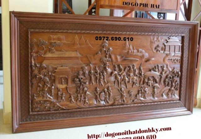 Tranh đục, Tranh chạm khắc gỗ vinh qui bái tổ T05