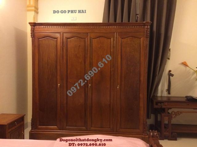 Tủ đựng quần áo gỗ hương đẹp 4 Buồng 4 Cánh TA6