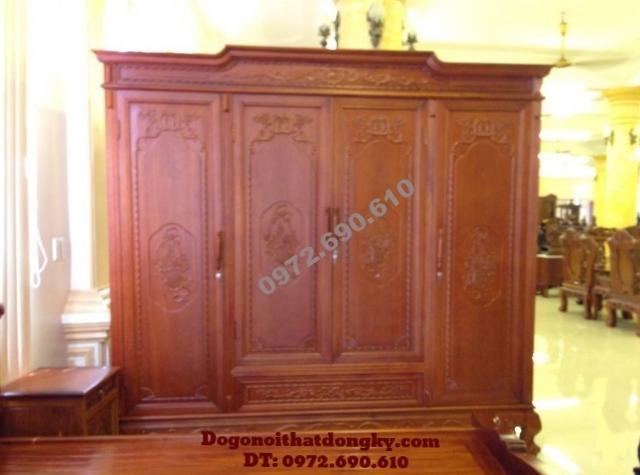 Tủ quần áo đồ gỗ Phú Hải 3 Buồng 4 Cánh TA8