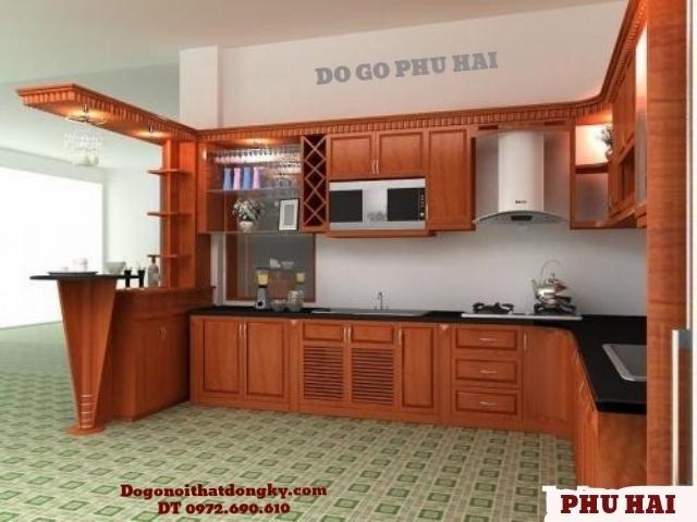 Tủ bếp đẹp, Tủ bếp gỗ Dáng Hương có quầy Bar TB1