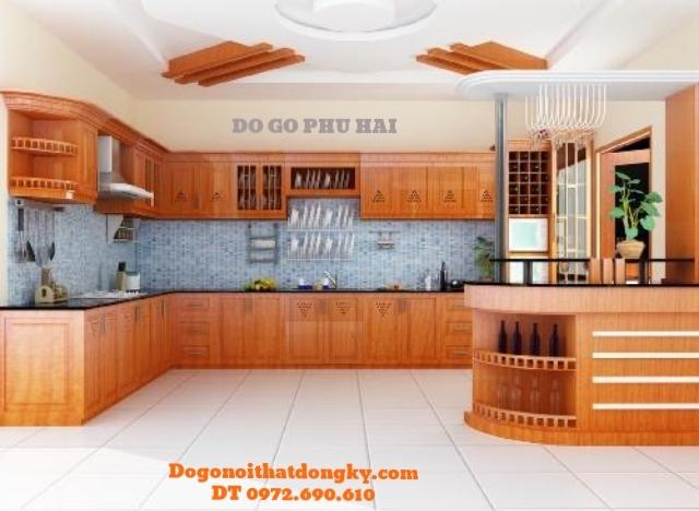 Thiết kế và thi công Tủ bếp đẹp gỗ Căm Xe TB3