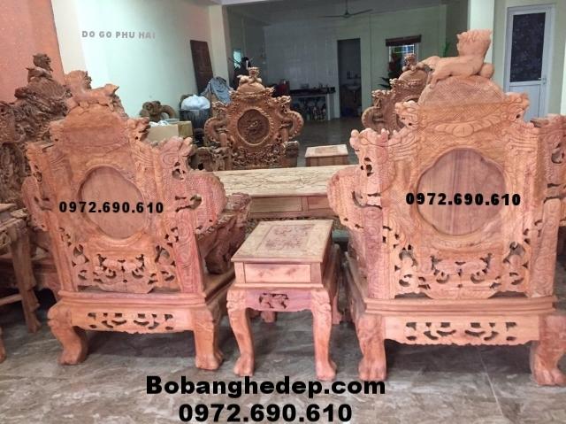 Bộ bàn ghế đẹp Đồ gỗ đồng kỵ bộ cửu long Bảo Đỉnh B161