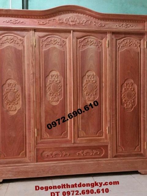 Bán Tủ để quần áo đẹp gỗ hương bốn cánh TA15