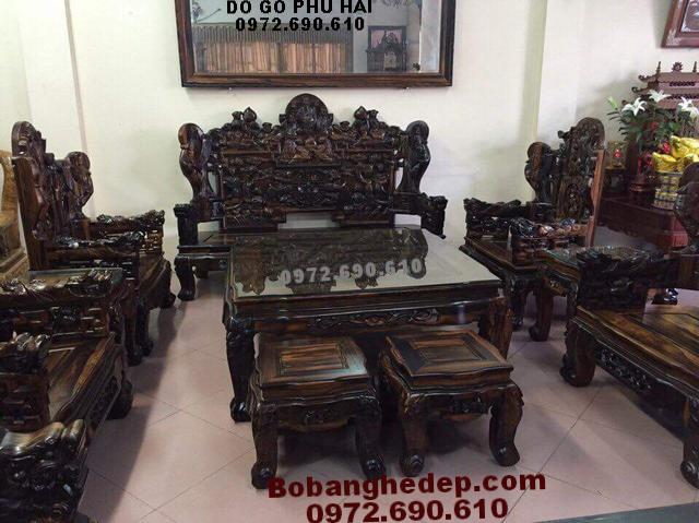 Bộ bàn ghế phòng khách gỗ mun đẹp cho Đại gia B224