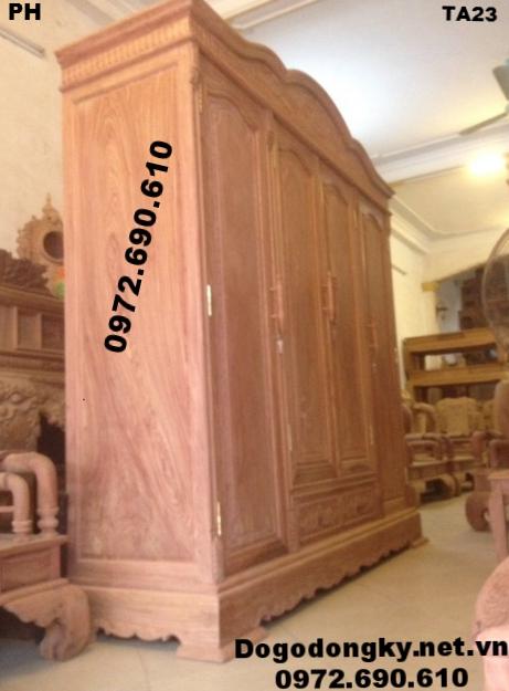 Mẫu Tủ Quần Áo Đẹp, Tủ Áo Ba Buồng Bốn Cánh TA23