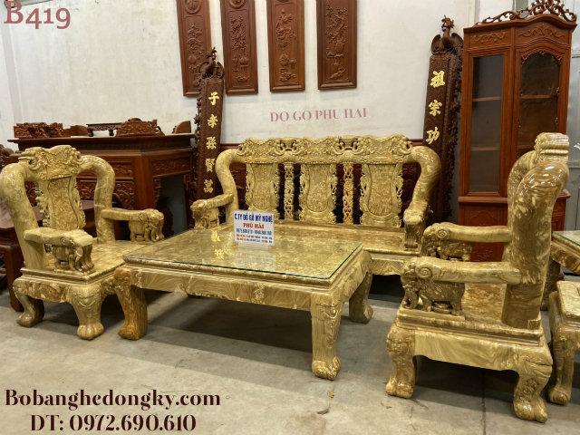 Nơi Bán Bộ Bàn Ghế Nu Nghiến Tay Voi C14cm Đẹp Tại Đà Nẵng B419