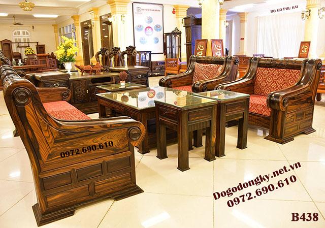 Bộ Bàn Ghế Sofa Gỗ Mun Đẹp & Sang B438