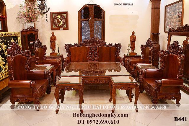 Bộ Bàn Ghế Gỗ Đẹp Mẫu Tân Cổ Điển Cho Nhà Biệt Thự B441