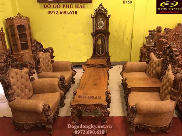 Bộ Bàn Ghế Hoàng Gia Kiểu Sofa Bọc Da Cao Cấp B450