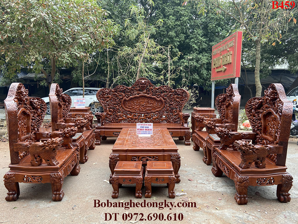 Bộ Bát Mã Gỗ Hương – Bàn Ghế Đồng Kỵ Phú Hải B459