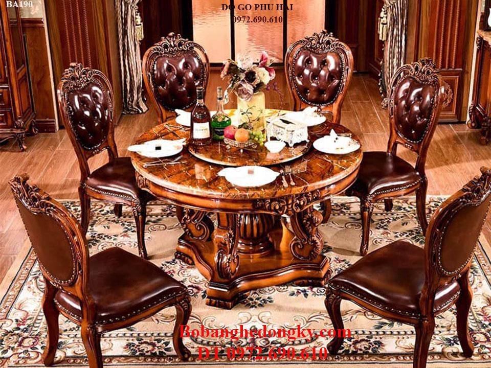 Bộ Bàn Ghế Phòng Ăn 6 Ghế Bọc Đệm Mẫu Hoàng Gia BA190